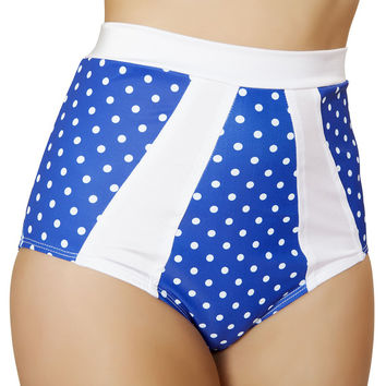 Blue and White High-Waisted Pinup Style Shorts
