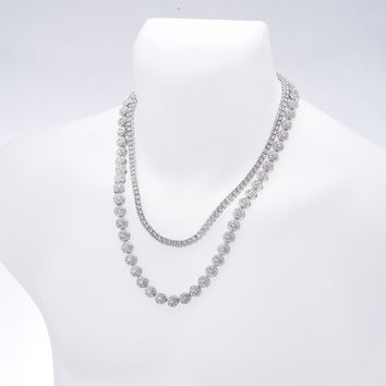"Jewelry Kay style Men's Fashion CZ Iced Out 24"" Flower Chain & 20"" Tennis Chain Necklace Set"