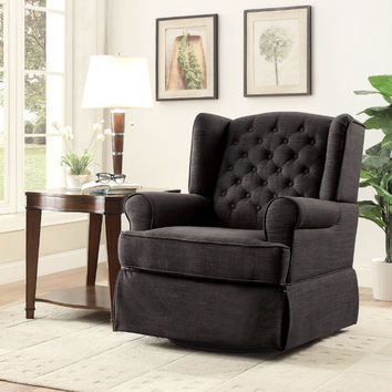 Furniture of america CM-RC6586DG Paloma dark gray linen like fabric upholstered swivel wing back rocker chair