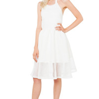 The Prelude Halter Dress - White