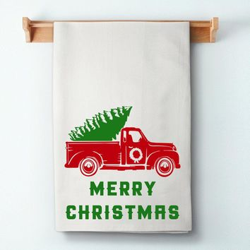 Merry Christmas Truck Flour Sack Towel