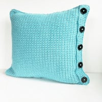 Crochet Pillow Cover Turquoise Blue , Reversible Handmade Knitted Pillow Case for 18 inch Square Throw Pillow