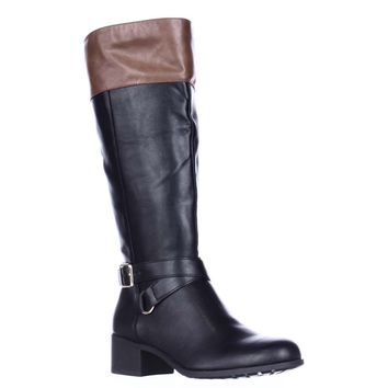 SC35 Vedaa Wide Calf Riding Boots, Black/Barrel, 5 US