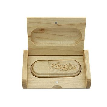 (over 10 PCS Free LOGO) customized laser engraving wooden+Box pendrive 16GB usb Flash Drive Memory stick for photography gift