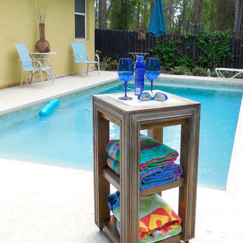 Unique Storage Caddy; Pool or Bathroom, Use Indoors or Out! Outdoor Water Resistant Finish, Weathered Grey Shown, Solid Cedar, 5 Colors