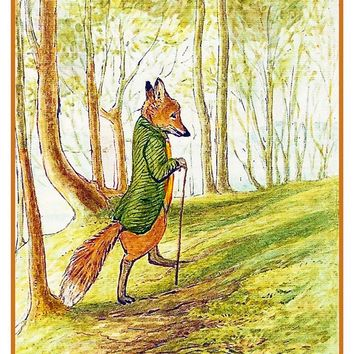 Mr Tod Fox inspired by Beatrix Potter Counted Cross Stitch or Counted Needlepoint Pattern