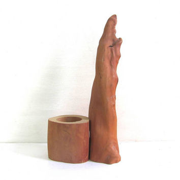 20% OFF SALE...Vintage Cypress Wood Candle Holder or Planter