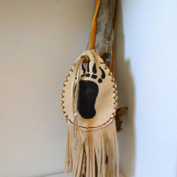 Medicine Pouch, Medine Bag With Fringe, Hand Drawn Bear Paw, Handmade by Lakota Artist, Native American, Hippie, Boho, Tribal, Gypsy, Powwow