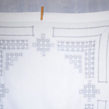 Vintage White Linen Cutwork Lace Tablecloth - simply gorgeous - with geometrical motifs and feature hemstitching, square supper cloth