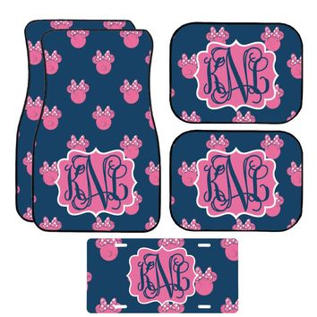 Disney Navy and Pink Minnie Mouse Inspired Car Mat / Car mat Monogram