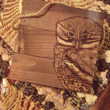 OWL Wall Hanging Media: Wood Burning.