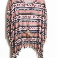 070610 Bohemian tassel striped short-sleeved-2 from cassie2013