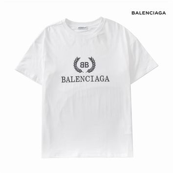 Balenciaga 2019 early spring new loose men and women couples wild round neck short-sleeved T-shirt white