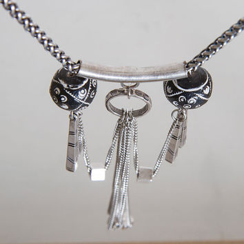 FREE SHIPPING WORLDWIDE Silver Tassel necklace/ Silver mala/ long Necklace