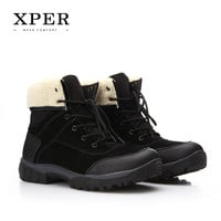 Men Shoes Martin Men Winter Boots Size 40~45 Warm Plus Size Lace-up Men Winter Shoes