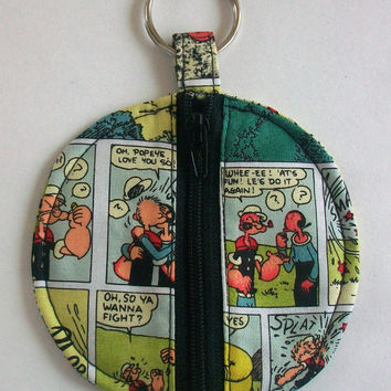 Popeye the Sailor Man Circle Earbud Holder Pouch / Olive Oyl Coin Purse / Comic Strip