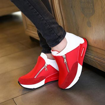 2016 Spring And Autumn Height Increasing Women's Zip Casual Shoes Casual New Wedge Can