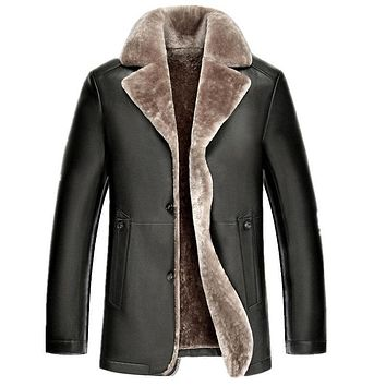 The new men's long paragraph sheep skin fur lapel genuine leather male plus size solid color lambswool outerwear coat MZ1149