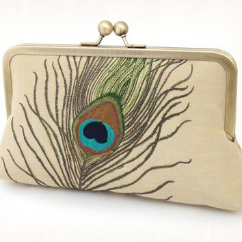 Peacock feathers clutch bag  luxury embroidered by redrubyrose
