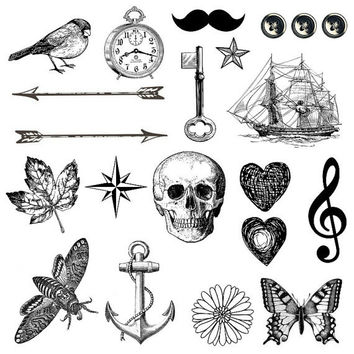 Set of 21 temporary tattoo - Ink, Skull, Skeleton Key, vintage, Arrow, Nautical Tattoo, Woodland, Accessories