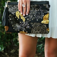 Sequin Soiree Floral Sequin Pattern Clutch With Faux Leather Tassel Zipper