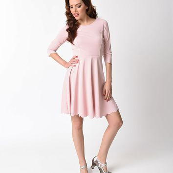 Vintage Style Pink Scalloped Long Sleeved Dusty Flare Dress