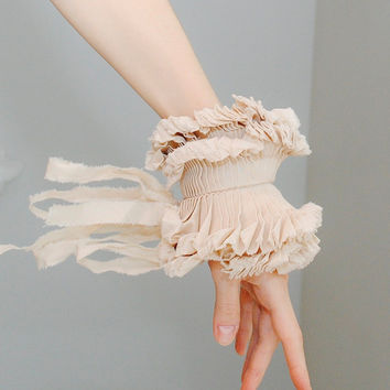 Beige Ruffled cuffs/ Ruffled Fashion/ Victorian by marinaasta