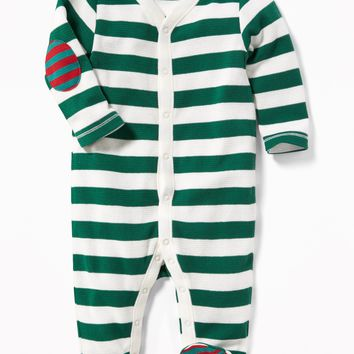 Striped Thermal-Knit Footed One-Piece for Baby|old-navy