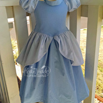 Cinderella Dress - Blue Gown with Headband - Princess Inspired Dress - Costume - Sizes 6/12 months through 10