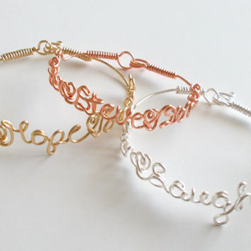 Bracelet . Wire Name Bracelet with your favorite PHRASE or NAMES . Name Bracelet . Personalized Bracelet . Wire Name Jewelry