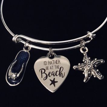 I'd Rather Be At The Beach Expandable Charm Bracelet Adjustable Bracelet Starfish Flip Flop Ocean Nautical Vacation Gift