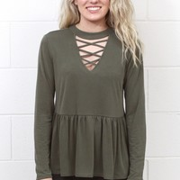 High Strappy Neck Relaxed Peplum Blouse {Olive}