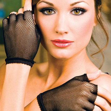 Short Fingerless Wrist Length Fishnet Gloves