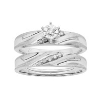 Diamond Engagement Ring Set in Sterling Silver (1/10 Carat T.W.) (White)