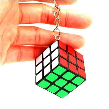 Mini Rainbow Puzzle Cube Key Chain 3x3x3 Magic Cube Creative Cube Hang Decorations for Learning&Educational Child Toys- Colorful
