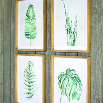 Set Of 4 Tropical Leaf Prints Under Glass