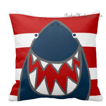 Ready to ship Shark pillow toss pillow beach theme ocean fish surf sharks beach decor kids toddler boys girls teen adult