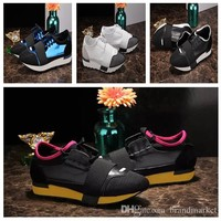 2018 New Balenciaga Designer Kanye West Race Runner Casual Shoe Man Woman Classic Mesh Trainer Shoes Cheap Sneaker Couple Hot Selling Size 35-46