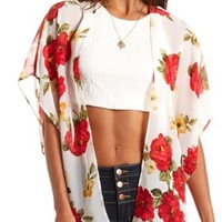 Sheer Floral Print Kimono Top by Charlotte Russe - White Combo