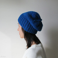 Hand Knitted Chunky Hat in Cobalt Blue - Slouch Seamless Hat - Winter Hat - Wool Blend - Made to Order