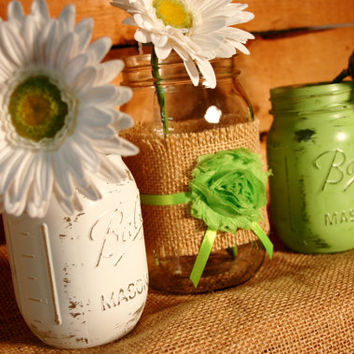 Citrus Punch set of 3 Mason Jars decorated with burlap, flower and ribbon