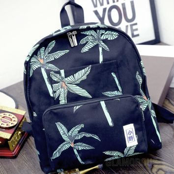 Black Tree Printed Canvas Backpack