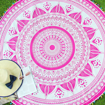 Pink Printed With Colorful Pompom Trim Round Blanket