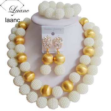 Nigerian Beads White African Jewelry Set laanc AL070