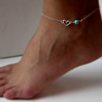Sterling Silver Heart Anklet with Turquoise by vintagestampjewels