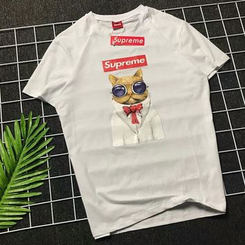 Supreme Trendy Fashion Couple Wild Chest Cat Print Short Sleeve F-AA-XDD White