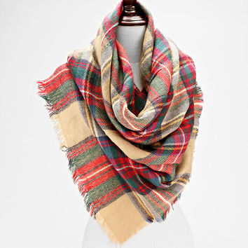 Plaid Check Knit Fringed Trim Blanket Scarf - Tan & Red