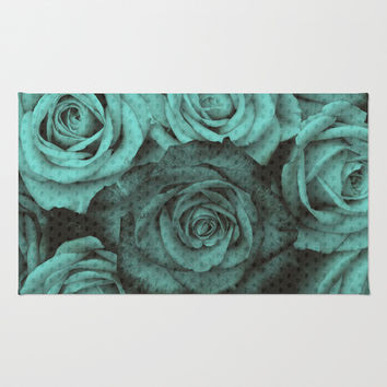 Polka dot roses in mint Area & Throw Rug by Kristy Patterson Design