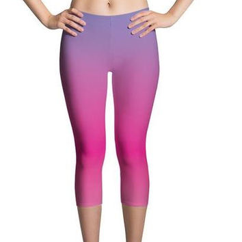 Ombre Purple/Fuchsia Capri Women's Leggings