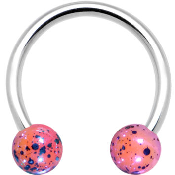 """16 Gauge Pink Speckled Cosmos Horseshoe Circular Barbell 3/8"""" 